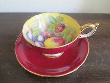Aynsley England Tea Cup And Saucer Signed D Jones Orchard Fruit Red Ellow
