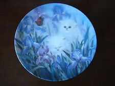 Collector Cat Plate Garden Discoveries White Kittens & Iris by Lily Chang 201656