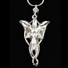 Vintage Lord of the Rings Movie Arwen Evenstar Silver tone N12 Pendant Necklace