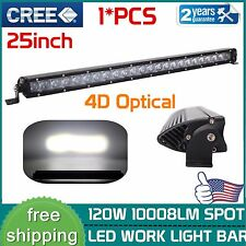 25inch 120W CREE Led Light Bar Spot 4D Lens Single Row Off-road Jeep Driving Ute