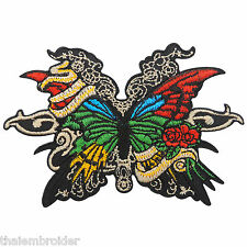 Butterfly Colorful Rose Vines Insect Rider Biker Tattoo Iron-On Patches #A012