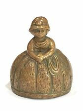 Vintage Antique Lady in Poofy Dress BRASS METAL BELL with Feet Clapper BELGIUM