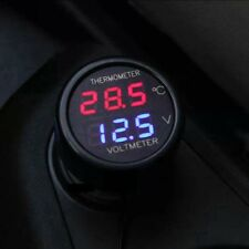 Dual LED Red Blue Car Digital Thermometer Voltmeter 12V 24V C Volt Meter 2 In 1