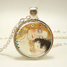 Mother and Child by Gustav Klimt Necklace, Art Pendant, Silver Plate