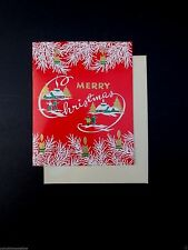 Vintage Unused Xmas Greeting Card Glossy Red Paper & Golden Holiday Village
