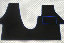 TO FIT A VW TRANSPORTER T5 2012 LWB VAN, BLACK/BLUE PIPING CUSTOM FIT 1PC MAT