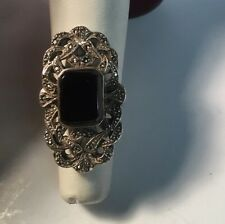 VINTAGE STERLING SILVER BLACK ONYX MARCASITE RING SIZE 7