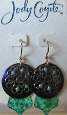 Jody Coyote Earrings JC0871 new Carnival QN279-01 green gold purple dangle
