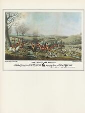 "1974 Vintage HUNTING ""THE CHASE OF THE ROEBUCK"" DOGS COLOR Art Print Lithograph"