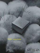 GUERLAIN PUBLICITE ANCIENNE DE 1951 POUDRE BEAUTE VISAGE DE NUEE FRENCH AD RARE
