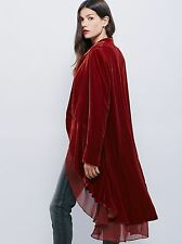 Womens Vintage Casual velvet Jacket Slim Parka Overcoat Outwear Blazer Long Coat