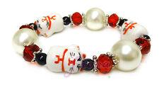 """Red Maneki Neko Lucky Cat Stretch Bracelet 7.5"""" New with Gift Bag"""