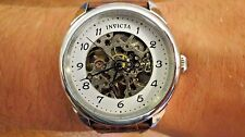 Invicta Mechanical Skeleton Specialty Men's Watch 117187 Brown Leather Strap