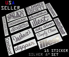 ILLEST FATLACE STANCEWORKS JDM SET 8 INCH 15 SILVER STICKERS DECAL DAPPER