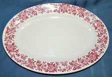Royal JACKSON CHINA Restaurant Ironstone JESSICA Red/Pink Floral Oval Platter