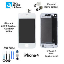 FOR iPhone 4 Retina LCD & Digitiser + Back + Home Button Replacement Kit - WHITE