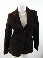 BEGED-OR ISRAEL WOMENS DARK BROWN SUEDE LEATHER BUTTON FRONT JACKET SIZE 42