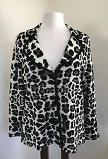 Exclusively Misook M Blazer Sweater Black White Leopard Print EUC