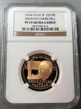 1974 GOLD COOK ISLANDS $100 WINSTON CHURCHILL CENTENARY NGC PROOF 69 ULTRA CAMEO