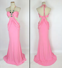New Genuine Jovani 8012 Pink Full-Length, Halter Evening Bridal Dress Size 4