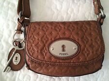 Maddox Embossed Chestnut Brown Leather Cross Body Bag Purse