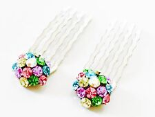 USA Mini Hair Comb Small Swarovski ELM Crystal Bridal Wedding Multicolor Rainbow