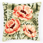 """Peonies Chunky Cross Stitch Cushion Front Kit 16x16"""" tapestry canvas 4.5hpi"""