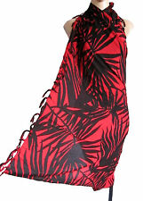 Black/red PALM  LEAF beach wrap, scarf, sarong/pareo swimwear cover up SUMMER