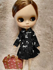 Blythe Outfit Clothing Leaf Print Black corduroy Coat