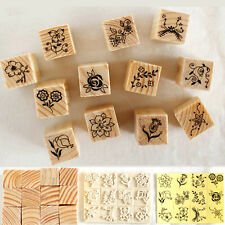 12Pcs Lovely Model Flower DIY Cute mini Wooden Rubber Stamp Drawing Craft