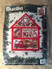 Bucilla Counted Cross Stitch Kit SANTA'S WORKSHOP HOUSE HUTCH by Jorja Hernadez