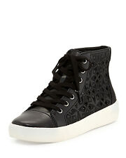 NEW Sam Edelman Branson Black Perforated Leather High Top Sneakers C4863L sz 6M
