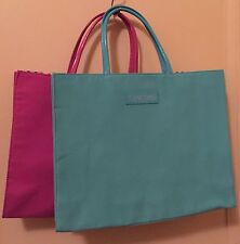 2PCs Lancome GWP Tote Bag Medium Size Polyester GREEN/PINK New