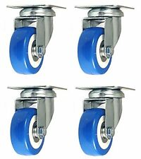 4 Pack 2 Inch Caster Wheels Swivel Plate On Blue Polyurethane Wheels PU 500LB