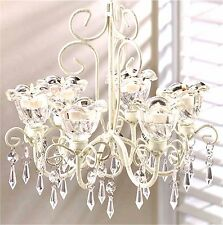 Gorgeous ** CRYSTAL BLOOMS  6 CANDLE HOLDER CHANDELIER & CHAIN ** NIB