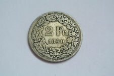 RARE 2FRANCS SUISSE HELVETIA ASSISE 1860