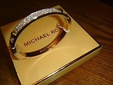 MICHAEL KORS Gold Tone Bangle  BRILLIANCE BRACELET Crystals Pave~MKJ1975710~NEW