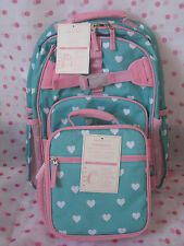 NEW Pottery Barn Kids  AQUA PINK HEARTS SMALL BACKPACK  +  LUNCH BAG  LAST ONE!