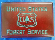 "US Forest Service Dept of Agriculture Cherry Walnut w Hunter Green Engrave 4""X6"""