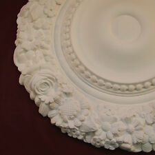 Ceiling Rose Flower and Beaded 540mm Fine Plaster