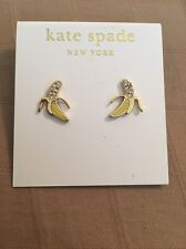 Kate Spade Things We Love Banana Stud Earrings Pave Yellow Gold Dust Bag That's