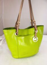 Authentic MICHAEL KORS Green Tan Leather Tote Shoulder Bag Shopper Purse