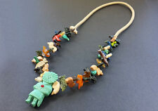 Hand Carved Sun Kachina with Mixed Animals Multicolored Fetish Necklace