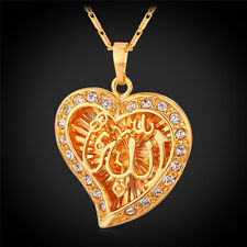 New Islamic 18K Gold Platinum Plated Jewelry Heart Shaped Allah Pendant Necklace