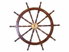"Deluxe Helm Ship Wooden 36"" Brass Steering Wheel Boat Center Hub Wall Decor"