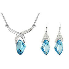 Ocean Blue Jewellery Set Crystal Angel Hands Drop Earrings Pendant Necklace S258