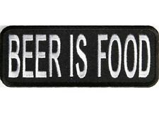 LOT OF 2 - BEER IS FOOD EMBROIDERED IRON ON BIKER  PATCH