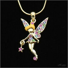 Flower FAIRY Faerie Fey jewelry Pendant Necklace Crystal Fairytale Multicolor