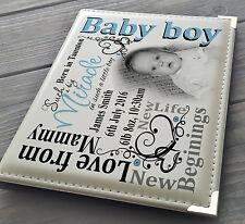 """Personalised 7x5"""" x 36 photo album, memory book, Baby boy newborn birthday gift"""
