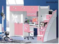 Pink purple BLUE BUNK BED with DESK  and WARDROBE STAIRS POSITION ON EITHER SIDE